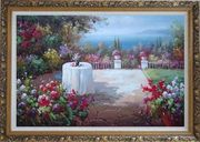 Peaceful Mediterranean Coastal Flower Garden Oil Painting Naturalism Ornate Antique Dark Gold Wood Frame 30 x 42 inches