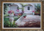 Colorful Garden at Back Yard Oil Painting Naturalism Ornate Antique Dark Gold Wood Frame 30 x 42 inches