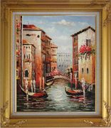 Venice in Afternoon Sunshine Oil Painting Italy Impressionism Gold Wood Frame with Deco Corners 31 x 27 inches