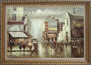 Paris Street in Early 1900 Oil Painting Cityscape France Impressionism Exquisite Gold Wood Frame 30 x 42 inches