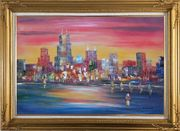 Chicago Skyline Waterfront View Oil Painting Cityscape America Modern Gold Wood Frame with Deco Corners 31 x 43 inches