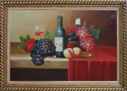 Still Life With Fruit, Glass of Wine, and Fruit Plates Oil Painting Classic Exquisite Gold Wood Frame 30 x 42 inches