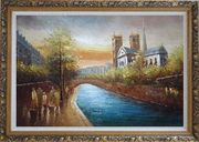 Walking Along the Riverside Near Notre Dame De Paris Oil Painting Cityscape France Impressionism Ornate Antique Dark Gold Wood Frame 30 x 42 inches