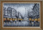 Black and White Paris Street and Eiffel Tower with Yellow Light Oil Painting Cityscape Impressionism Exquisite Gold Wood Frame 30 x 42 inches