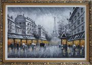 Black and White Paris Street and Eiffel Tower with Yellow Light Oil Painting Cityscape Impressionism Ornate Antique Dark Gold Wood Frame 30 x 42 inches