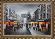 Black and White Paris Arc De Triumph Oil Painting Cityscape France Impressionism Exquisite Gold Wood Frame 30 x 42 inches