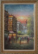 Street Scene Near Paris Eiffel Tower Oil Painting Cityscape France Impressionism Exquisite Gold Wood Frame 42 x 30 inches