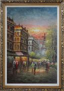 Street Scene Near Paris Eiffel Tower Oil Painting Cityscape France Impressionism Ornate Antique Dark Gold Wood Frame 42 x 30 inches