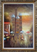 Old Building with Colorful Scenery Oil Painting Cityscape Impressionism Ornate Antique Dark Gold Wood Frame 42 x 30 inches
