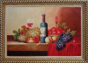 Still Life of Grape, Peaches, Plate and Curtains Oil Painting Fruit Classic Exquisite Gold Wood Frame 30 x 42 inches