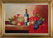 Still Life of Grape, Peaches, Plate and Curtains Oil Painting Fruit Classic Gold Wood Frame with Deco Corners 31 x 43 inches