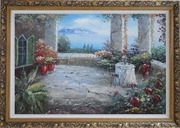 Stunning Colorful Flower Patio Garden Overlooking the Mediterranean Sea Oil Painting Naturalism Ornate Antique Dark Gold Wood Frame 30 x 42 inches