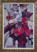 Elegant Flowers in a Warm Setting Oil Painting Still Life Decorative Ornate Antique Dark Gold Wood Frame 42 x 30 inches