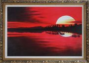 Gorges Red Lake at Sunset Oil Painting Landscape River Naturalism Ornate Antique Dark Gold Wood Frame 30 x 42 inches