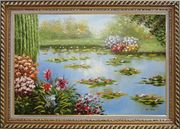 Red Lily Lake Bridge View Oil Painting Flower Naturalism Exquisite Gold Wood Frame 30 x 42 inches