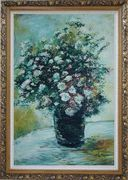 Light Color Chrysanthemum in Vase Oil Painting Flower Still Life Daisy Impressionism Ornate Antique Dark Gold Wood Frame 42 x 30 inches