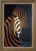 Zebra Oil Painting Animal Decorative Exquisite Gold Wood Frame 42 x 30 inches