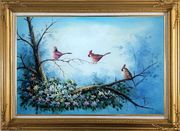 Three Colorful Cardinals Playing on Flower Tree Oil Painting Animal Bird Naturalism Gold Wood Frame with Deco Corners 31 x 43 inches