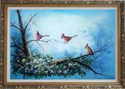 Three Colorful Cardinals Playing on Flower Tree Oil Painting Animal Bird Naturalism Ornate Antique Dark Gold Wood Frame 30 x 42 inches