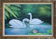 Lovely Pair of Swans in Pond With Lilies And Green Plants Oil Painting Animal Naturalism Ornate Antique Dark Gold Wood Frame 30 x 42 inches