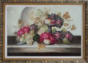 Still Life of Grapes,Peaches with Porcelain Bowl Oil Painting Fruit Classic Ornate Antique Dark Gold Wood Frame 30 x 42 inches