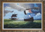 1800 Pirate Ships with Cannon Battle on Sea Oil Painting Boat Classic Ornate Antique Dark Gold Wood Frame 30 x 42 inches