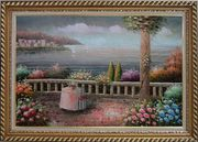 Lovely Mediterranean Retreat Before Storm Oil Painting Naturalism Exquisite Gold Wood Frame 30 x 42 inches