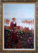 A Garden above the Seine Oil Painting Portraits Woman Classic Ornate Antique Dark Gold Wood Frame 42 x 30 inches