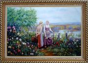 Two Ladies Talking On The Terrace Oil Painting Portraits Woman Classic Exquisite Gold Wood Frame 30 x 42 inches