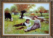 Flirting Oil Painting Portraits Couple Classic Ornate Antique Dark Gold Wood Frame 30 x 42 inches