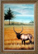 Male Bull Elk in Golden Autumn Field Oil Painting Animal Deer Classic Exquisite Gold Wood Frame 42 x 30 inches