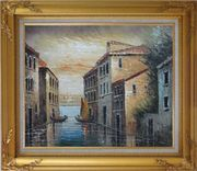 Romantic Venice in my Memory Oil Painting Italy Naturalism Gold Wood Frame with Deco Corners 27 x 31 inches