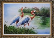 Pair of Blue Great Herons Oil Painting Animal Bird Naturalism Ornate Antique Dark Gold Wood Frame 30 x 42 inches