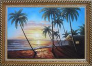 Hawaii Retreat with Palm Trees on Sunset Oil Painting Seascape America Naturalism Exquisite Gold Wood Frame 30 x 42 inches
