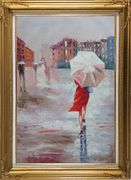Modern Lady with Red Walking Under Umbrella in Paris Street with Eiffel Tower in View Oil Painting Portraits Woman Impressionism Gold Wood Frame with Deco Corners 43 x 31 inches