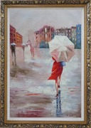 Modern Lady with Red Walking Under Umbrella in Paris Street with Eiffel Tower in View Oil Painting Portraits Woman Impressionism Ornate Antique Dark Gold Wood Frame 42 x 30 inches