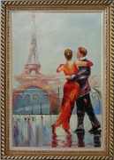 Romantic Dance at Bank of Seine under Eiffel Tower Oil Painting Portraits Couple Impressionism Exquisite Gold Wood Frame 42 x 30 inches