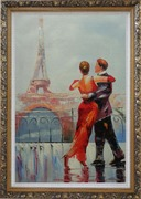 Romantic Dance at Bank of Seine under Eiffel Tower Oil Painting Portraits Couple Impressionism Ornate Antique Dark Gold Wood Frame 42 x 30 inches