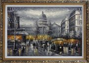 Black and White Washington D.C Cityscape Oil Painting America Impressionism Ornate Antique Dark Gold Wood Frame 30 x 42 inches