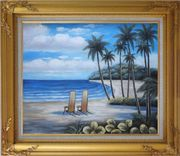 Two Chairs at the Hawaii Beach with Palm Trees Oil Painting Seascape America Naturalism Gold Wood Frame with Deco Corners 27 x 31 inches
