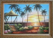 Hawaii Straw Hut with Palm Trees on Sunset Oil Painting Seascape America Naturalism Exquisite Gold Wood Frame 30 x 42 inches