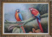 Pair of Blue Red Parrots Perched on Tree Oil Painting Animal Classic Ornate Antique Dark Gold Wood Frame 30 x 42 inches