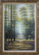 Genial Sunshine over Road in Peaceful Forest Oil Painting Landscape Tree Classic Ornate Antique Dark Gold Wood Frame 42 x 30 inches