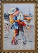Long Passionate Kiss on Pont des Arts with Eiffel Tower in Background Oil Painting Portraits Couple Impressionism Exquisite Gold Wood Frame 42 x 30 inches