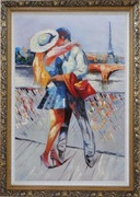 Long Passionate Kiss on Pont des Arts with Eiffel Tower in Background Oil Painting Portraits Couple Impressionism Ornate Antique Dark Gold Wood Frame 42 x 30 inches