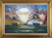 Pirate Ship Attack Merchant Ships in Sea Oil Painting Boat Classic Gold Wood Frame with Deco Corners 31 x 43 inches