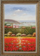 Tuscany Country Landscape with Vineyard Flower Field Oil Painting Italy Naturalism Exquisite Gold Wood Frame 42 x 30 inches