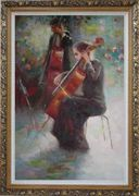 Two Young Girls Playing Cello and String Bass Oil Painting Portraits Woman Musician Impressionism Ornate Antique Dark Gold Wood Frame 42 x 30 inches