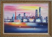 Shanghai Skyline At Huangpu River Oil Painting Cityscape China Modern Exquisite Gold Wood Frame 30 x 42 inches