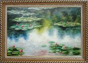 Water Lily Pond in Spring, Monet Reproduction Oil Painting Landscape River Impressionism Exquisite Gold Wood Frame 30 x 42 inches